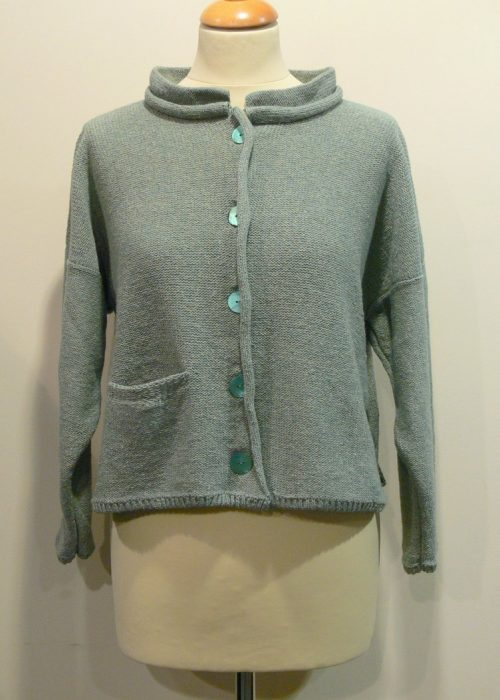Arizona Short Jacket in mint knitted in silk/lambswool, designed and made in Orkney
