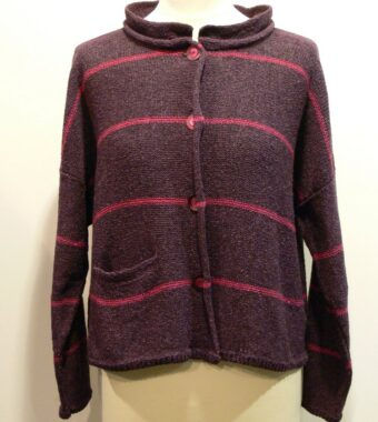 Mirage Short Jacket in plum/cerise knitted in silk/lambswool, designed and made in Orkney