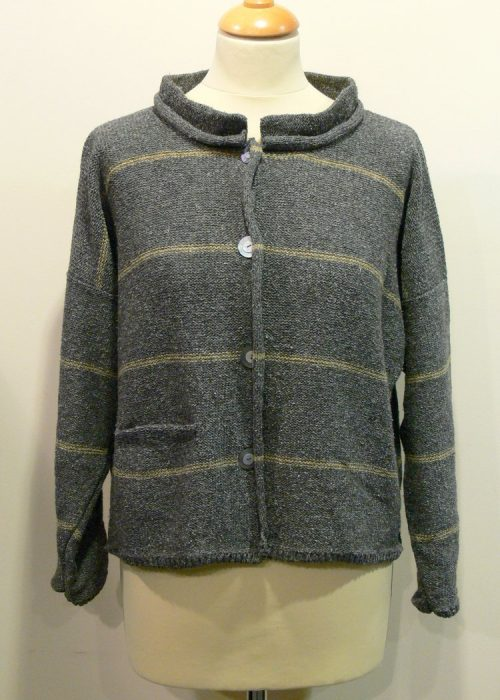 Mirage Short Jacket in grey/biscuit knitted in silk/lambswool, designed and made in Orkney