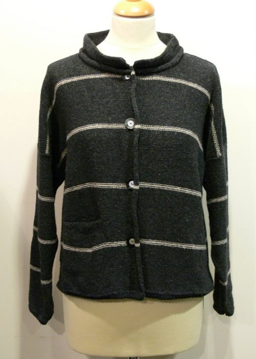 Mirage Short Jacket in graphite/shingle knitted in silk/lambswool, designed and made in Orkney