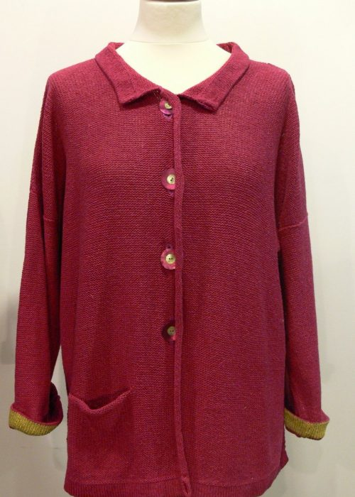 Aretha Medium Jacket in cerise/sap. Knitted in silk/lambswool yarn, designed and made in Orkney.