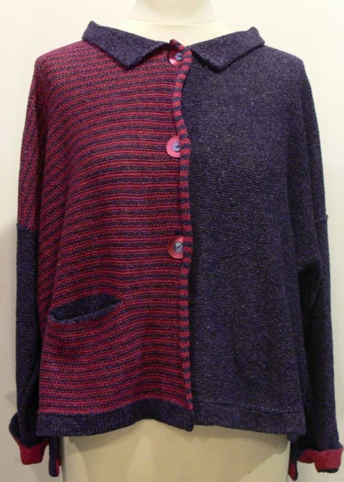 Silk/lambswool Aretha short jacket in gentian/cerise