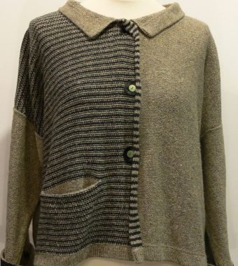 Silk/lambswool Aretha Short Jacket in biscuit/graphite