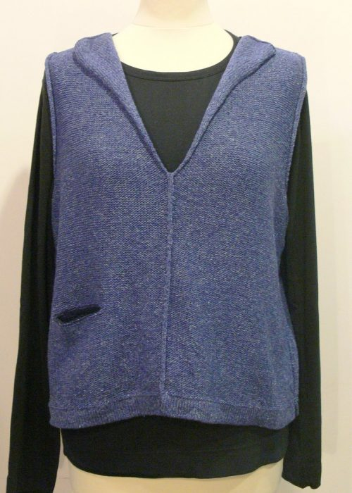 Carousel Short Gilet in bluebell/ midnight knitted in silk/lambswool yarn, desgned and made in Orkney