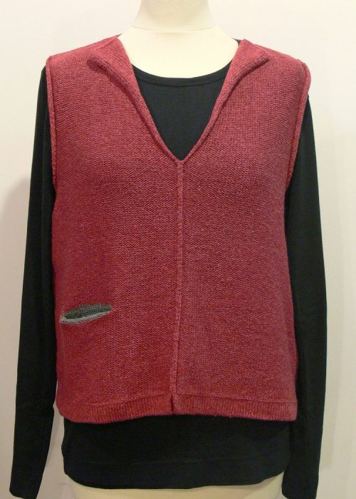 Carousel Short Gilet in oldrose/sage, knitted in silk/lambswool yarn, desgned and made in Orkney