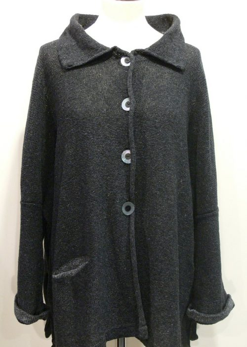 Carousel Medium Jacket in graphite/grey, knitted in silk/lambswool yarn, desgned and made in Orkney