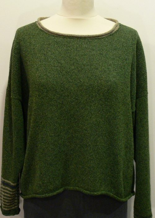 Strathy Short Tunic in fern/biscuit/gentian. Knitted in silk/lambswool, one stripe sleeve, designed and made in Orkney.