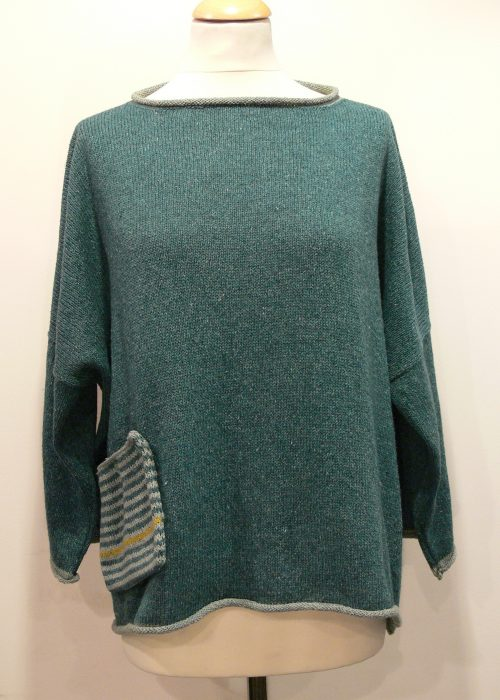 Calypso Medium Tunic in duckegg/mint/sap knitted in silk/lambswool yarn