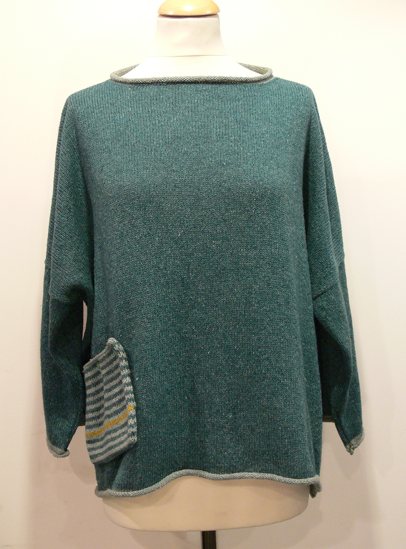 Calypso Medium Tunic in duckegg/mint/sap knitted in silk/lambswool yarn