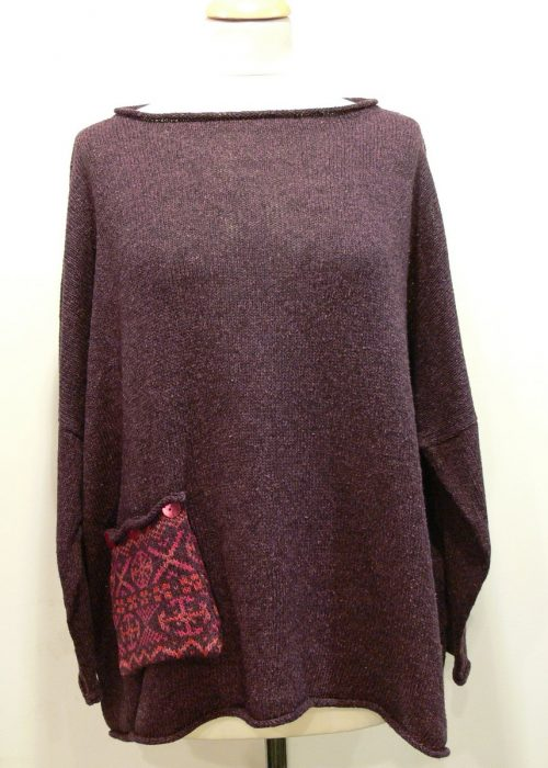 Calypso Medium Tunic in plum with fairisle pocket knitted in silk/lambswool yarn