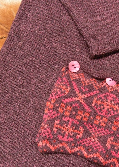 Calypso fairisle pocket plum