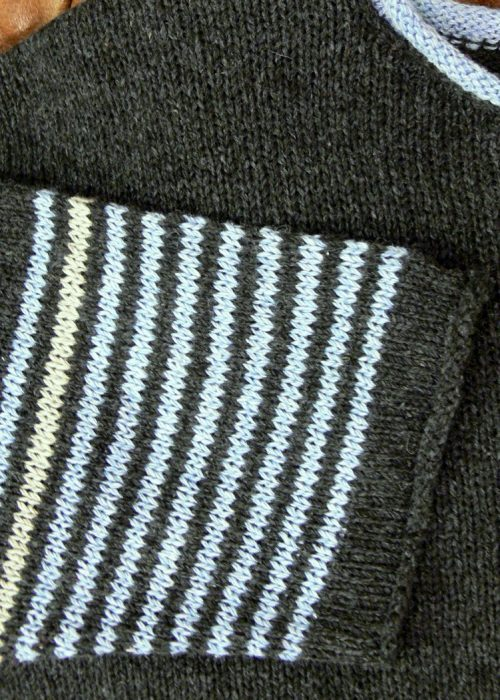 Strathy Short Tunic detail in midnight/delft/ivory. Knitted in silk/lambswool, one stripe sleeve, designed and made in Orkney.