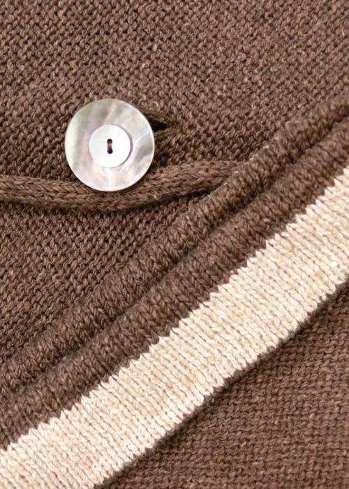 Detail from Carousel Medium Jacket in teak/shingle, knitted in silk/lambswool yarn, desgned and made in Orkney