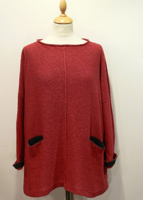 Carousel Medium Tunic in poppy/graphite knitted in silk/lambswool yarn