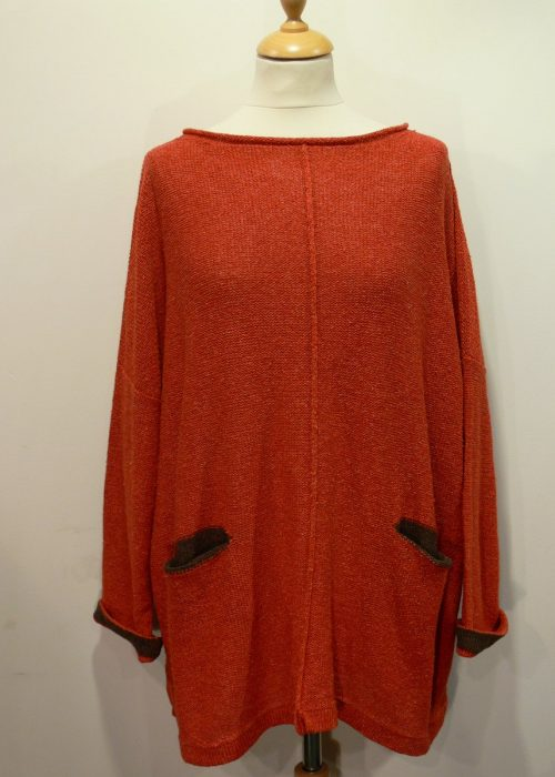 Carousel Medium Tunic in flame/teak knitted in silk/lambswool yarn