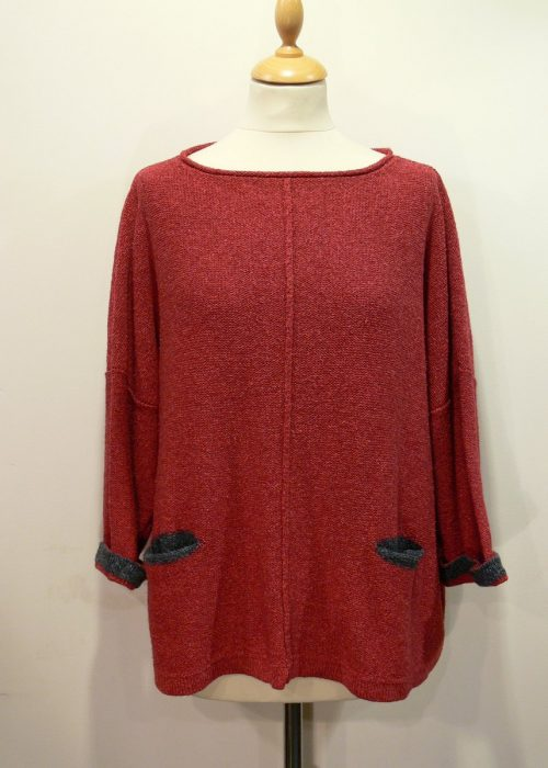 Carousel Medium Tunic in poppy/grey knitted in silk/lambswool yarn