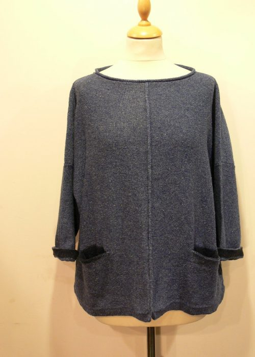 Carousel Medium Tunic in bluebell/midnight knitted in silk/lambswool