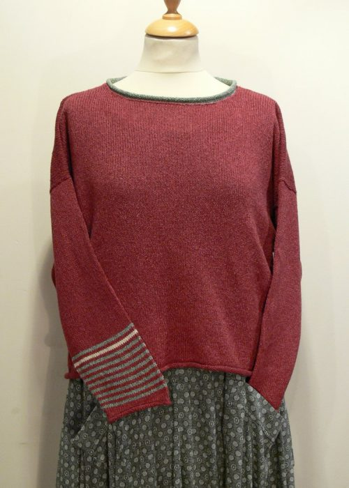 Strathy Short Tunic in oldrose/mint/ivory. One striped sleeve. Knitted in silk/lambswool. Designed and made in Orkney.