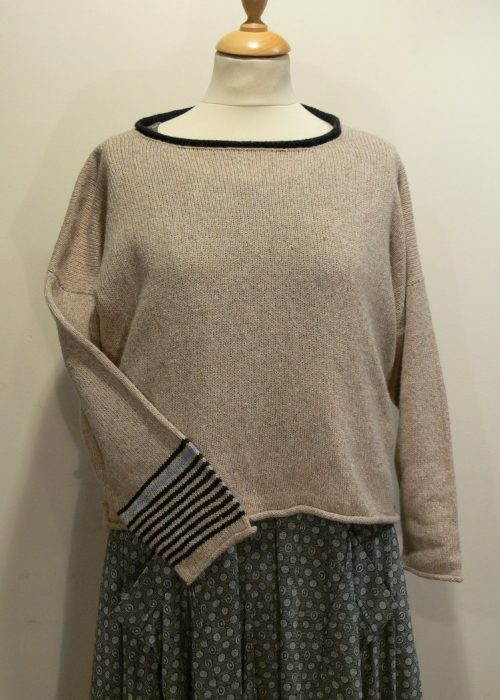 Strathy Short Tunic in shingle/graphite/delft. One striped sleeve. Knitted in silk/lambswool. Designed and made in Orkney.
