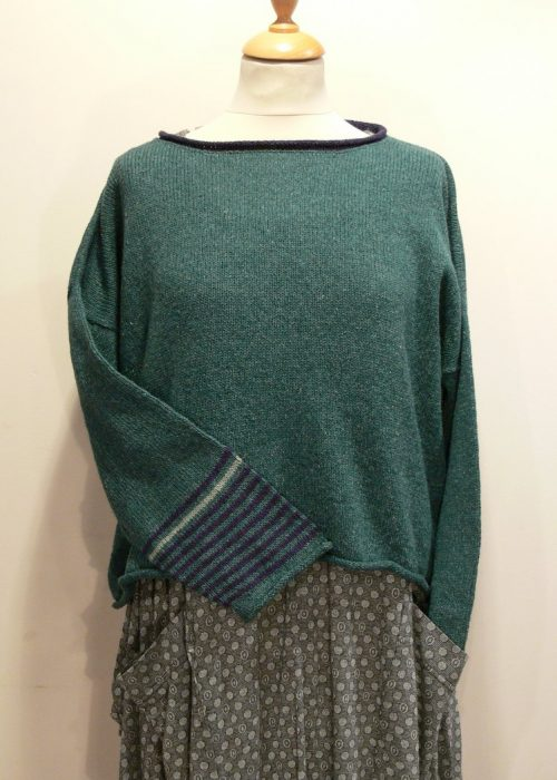Strathy Short Tunic in duckegg/gentian/mint. One striped sleeve. Knittedin silk/lambswool. Designed and made in Orkney.