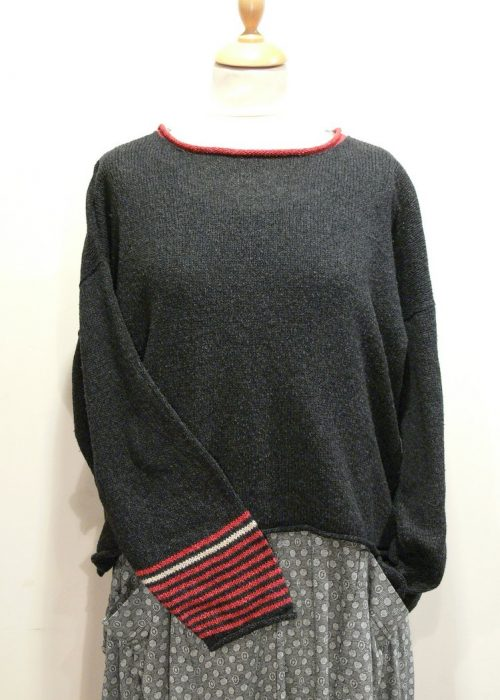 Strathy Short Tunic in graphite/poppy/shingle. One striped sleeve. Knitted in silk/lambswool. Designed and made in Orkney.