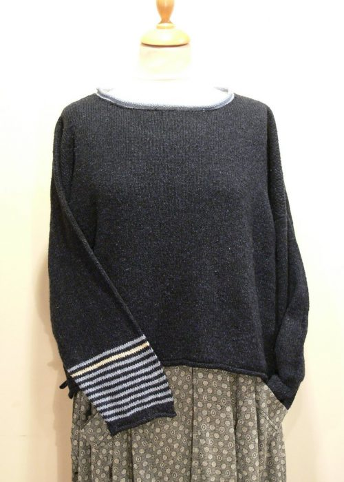 Strathy Short Tunic in midnight/delft/ivory. One striped sleeve. Knitted in silk/lambswool. Designed and made in Orkney.