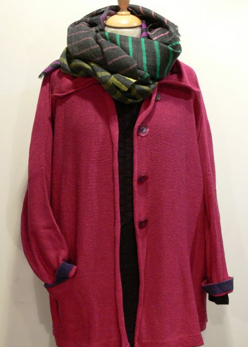 Carousel Medium Jacket in cerise/gentian, knitted in silk/lambswool yarn, desgned and made in Orkney