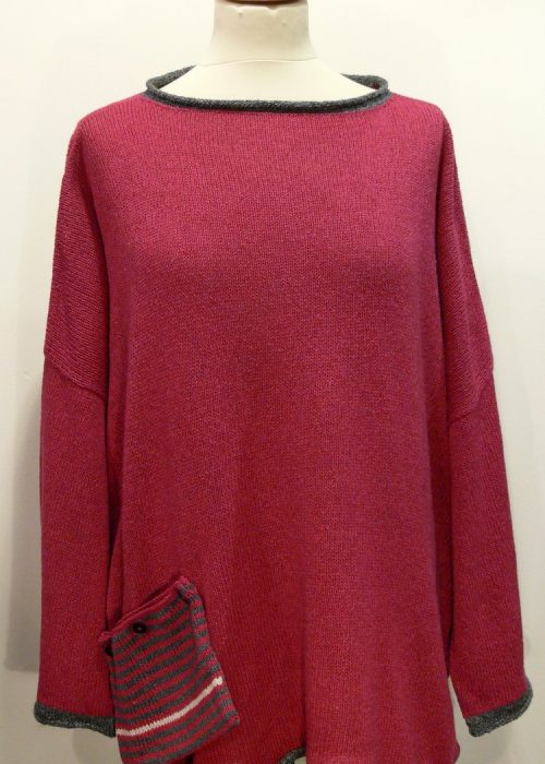 Calypso Medium Tunic in cerise/grey/ivory knitted in Orkney, in silk/lambswool yarn