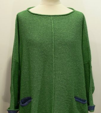 Carousel Medium Tunic in herb/bluebell knitted in silk/lambswool designed and made in Orkney