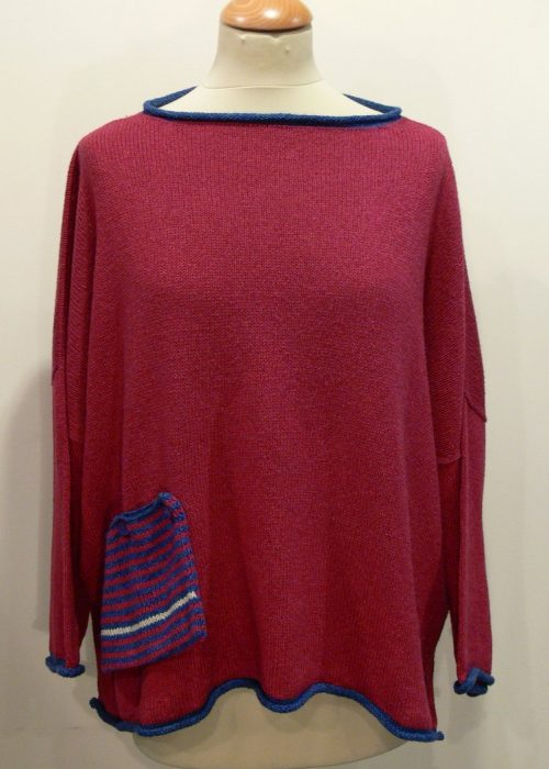 Calypso Medium Tunic in cerise/iris/ivory knitted in Orkney in silk/lambswool yarn