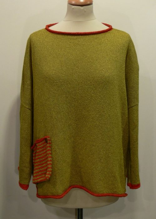Calypso Medium Tunic in sap/flame knitted in Orkney in silk/lambswool yarn