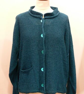 Arizona Short Jacket in teal knitted in silk/lambswool, designed and made in Orkney