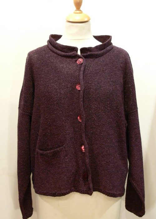 Arizona Short Jacket in plum knitted in silk/lambswool, designed and made in Orkney