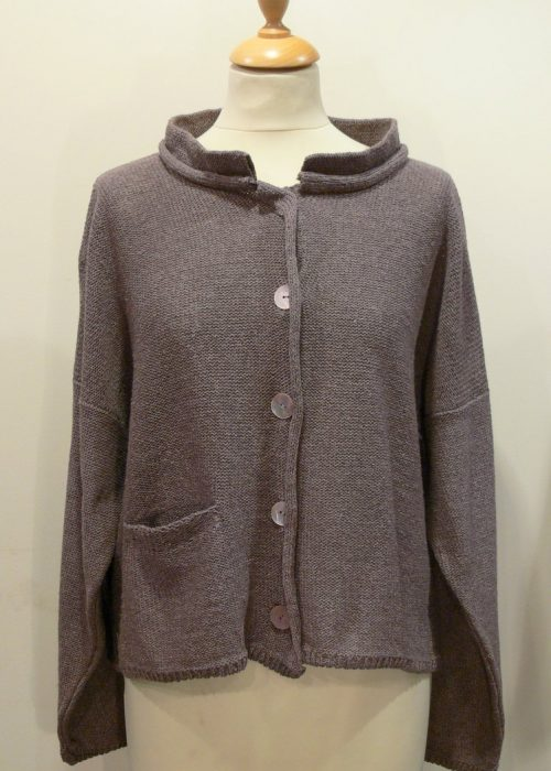 Arizona Short Jacket in erin knitted in silk/lambswool, designed and made in Orkney