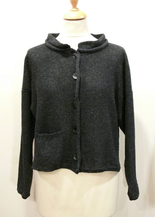 Arizona Short Jacket in graphite knitted in silk/lambswool, designed and made in Orkney
