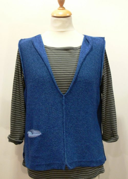 Carousel Short Gilet in iris/delft, knitted in silk/lambswool yarn, desgned and made in Orkney