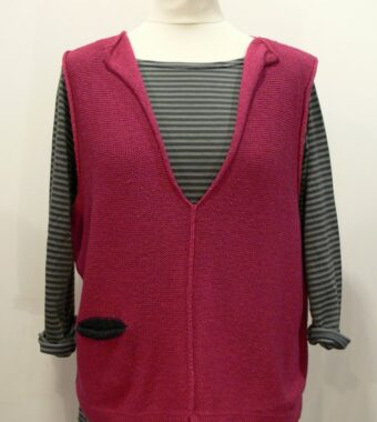 Carousel Short Gilet in cerise/graphite, knitted in silk/lambswool yarn, desgned and made in Orkney