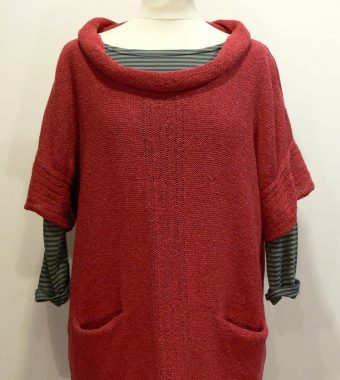 Firth Medium Gilet in poppy. Knitted in silk/lambswool, designed and made in Orkney