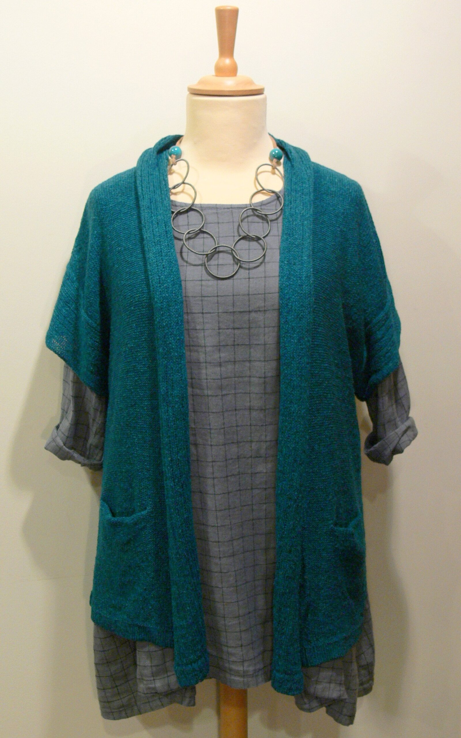 Firth Medium Waistcoat in teal. Knitted in silk/lambswool, designed and made in Orkney