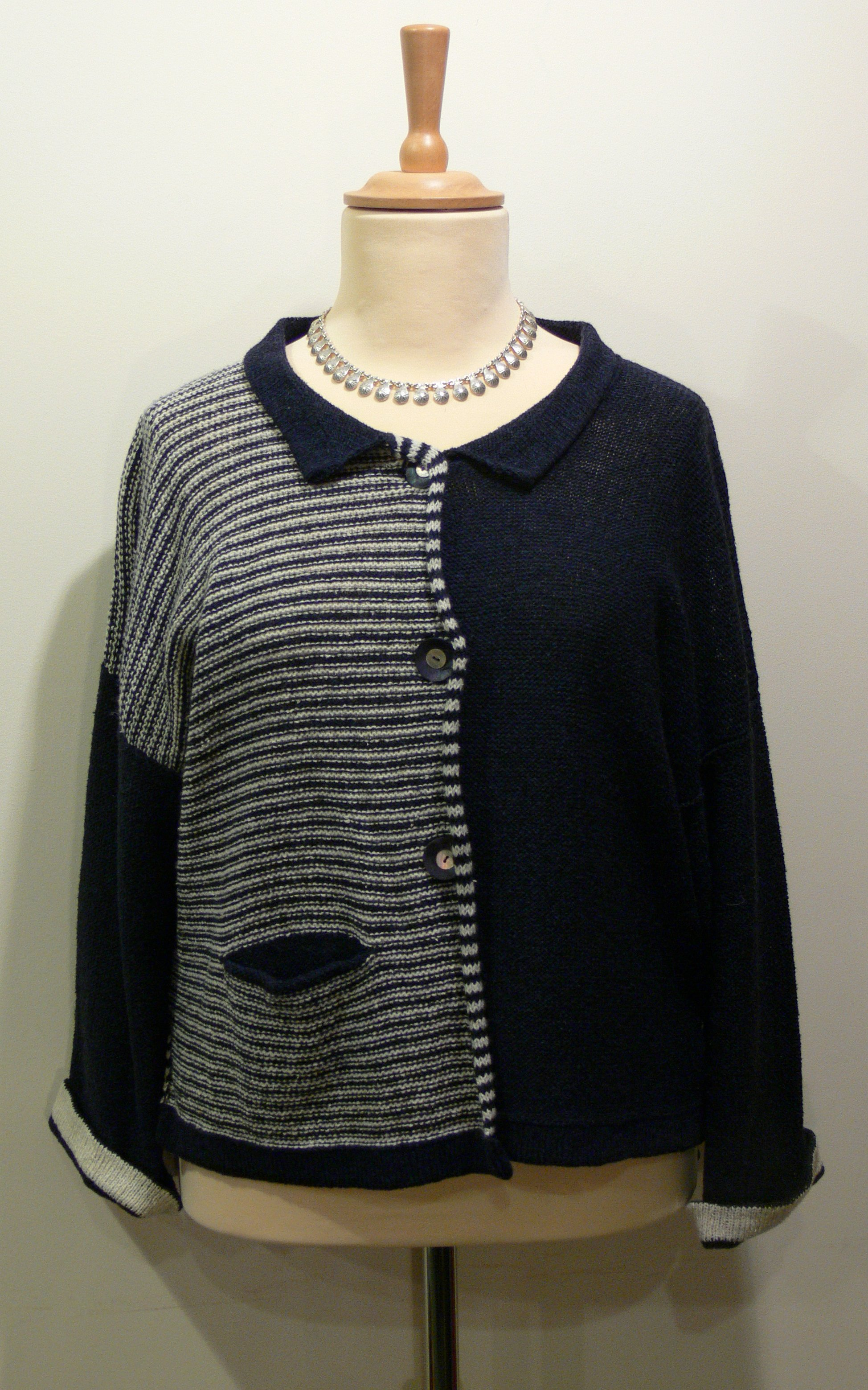 Aretha Short Jacket in midnight/ivory. Knitted in silk/lambswool. designed and made in Orkney.