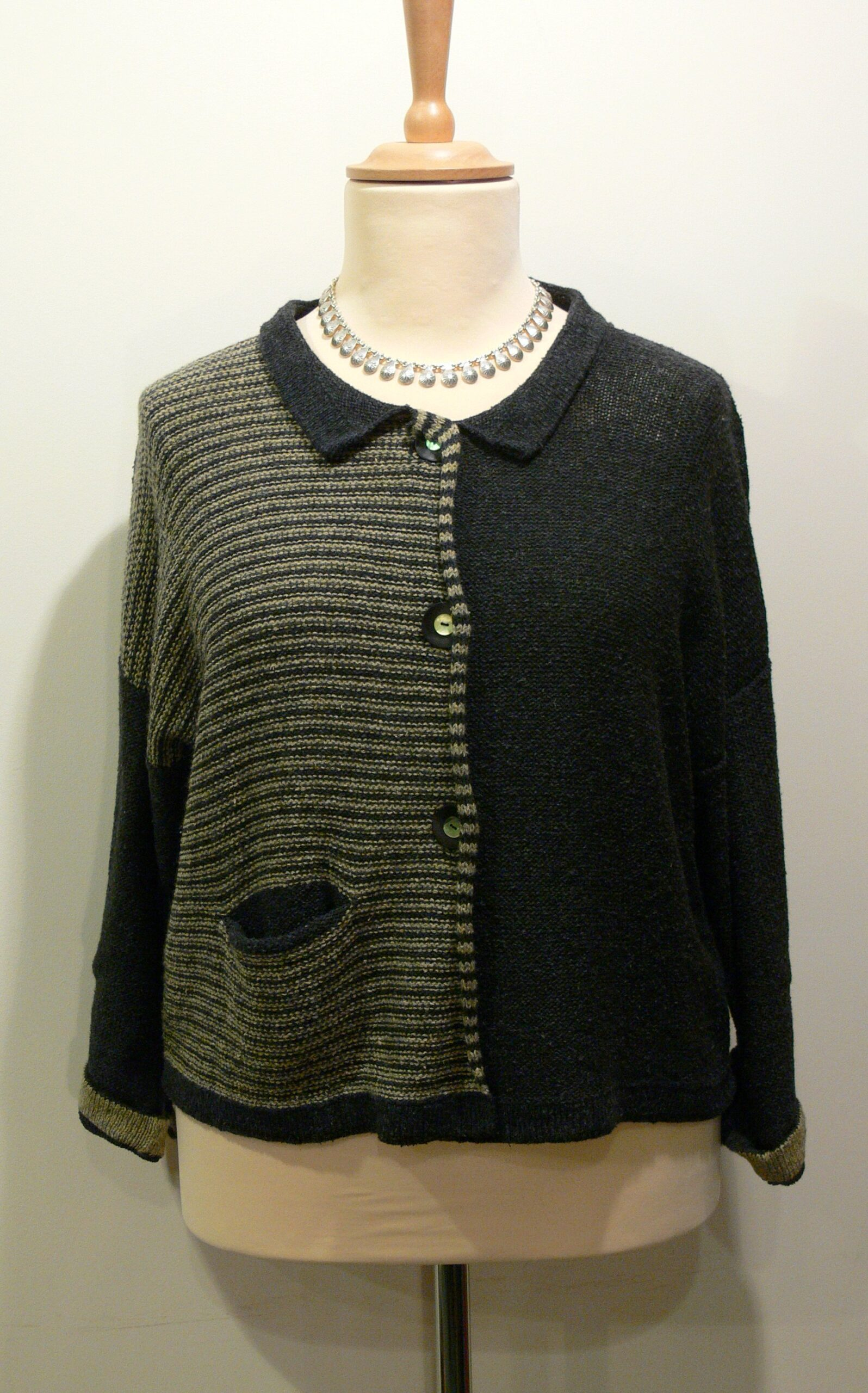 Aretha Short Jacket in graphite/biscuit. Knitted in silk/lambswool. designed and made in Orkney.