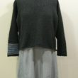 Strathy Short Tunic in graphite/delft/cloud. One striped sleeve. Knitted in silk/lambswool. Designed and made in Orkney.
