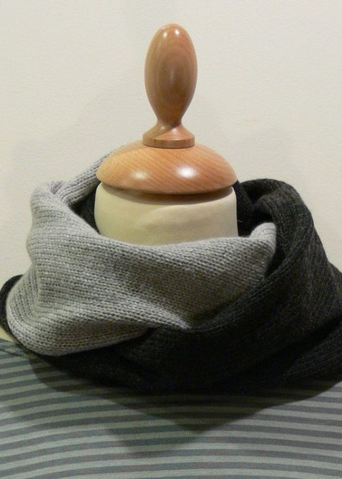 Quernstone 2 colour loop scarf, knitted in 90% superfine wool, 10% cashmere.