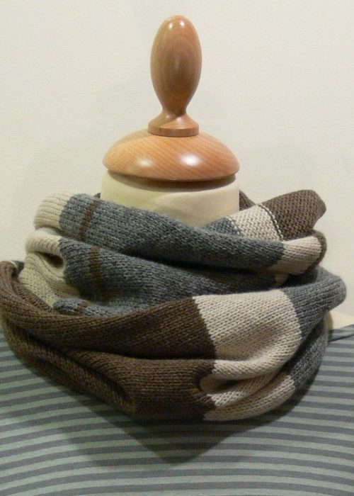 Quernstone 3 colour loop scarf, knitted in 90% superfine wool, 10% cashmere.