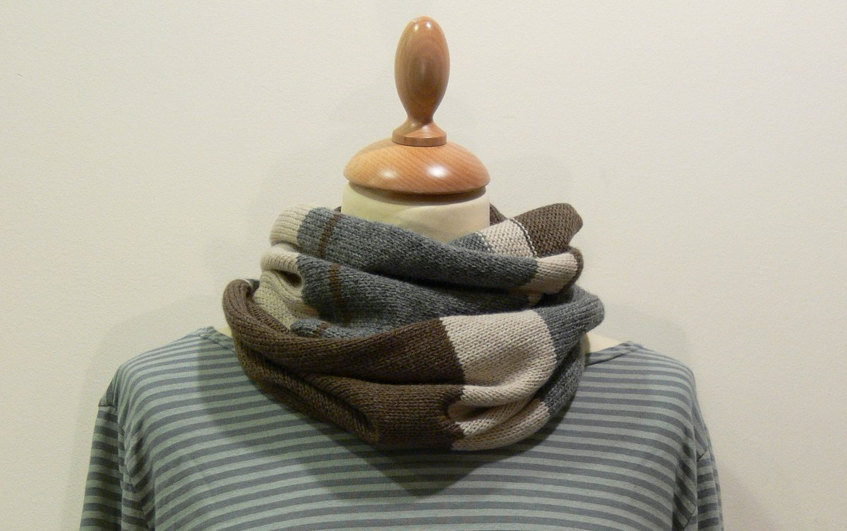 Quernstone loop scarf in brown, grey and fawn , knitted in 90% superfine wool, 10% cashmere.
