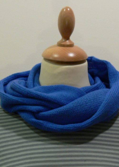 Quernstone sky blue loop scarf, knitted in 90% superfine wool, 10% cashmere.