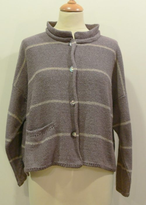 Mirage Short Jacket in erin/shingle knitted in silk/lambswool, designed and made in Orkney