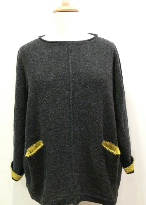 Carousel Medium Tunic in graphite/sap knitted in silk/lambswool yarn, designed and made in Orkney