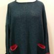 Carousel Medium Tunic in matelot/cerise knitted in silk/lambswool yarn, designed and made in Orkney