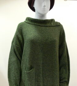 Ella medium tunic in fern, knitted in silk/lambswool